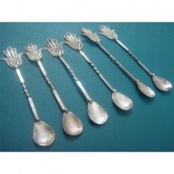 6 ea Fligree Tea Spoon_9