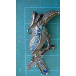Enamel Silver Crow with Hat_261