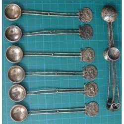 6 ea Ottoman Coin  Tea Spoon and Sugar Tong_10