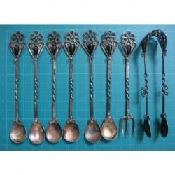 6 ea Oltu Stone Tea Spoon, Sugar Tong and Lemon Fork_42
